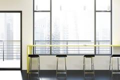 Loft bar interior, yellow table vector illustration