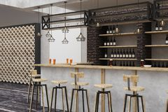 Loft bar/pub with empty billboard Royalty Free Stock Photo