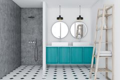 Loft bathroom, blue sink and shower, shelves. White luxury bathroom interior with a concrete floor, a blue double vessel sink and two round mirrors hanging above royalty free illustration