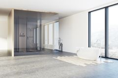 Loft bathroom, shower and tub corner. Loft bathroom interior corner with a shower, a white tub, a towel rack and a panoramic window. 3d rendering mock up Royalty Free Stock Photos