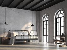 Loft bedroom with white brick wall 3d render. Loft bedroom 3d render,There are white brick wall,polished concrete floor and black wood ceiling.Furnished with stock illustration