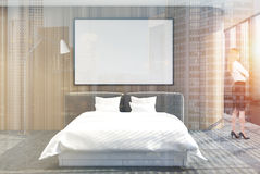 Loft bedroom interior, shades, poster, wood double Stock Image