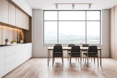 Loft biała i drewniana kuchnia z stołem ilustracja wektor