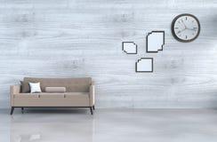 Loft biały żywy izbowy wystrój z kanapą obrazy royalty free