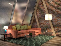 Loft and big window. 3d illustration Stock Photography