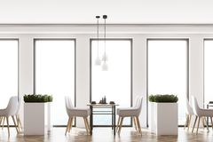 White loft cafe interior Royalty Free Stock Photo