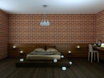 Loft con la cama con el lino de seda y el lugar de trabajo hermoso Imágenes de archivo libres de regalías