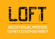 Loft condensed grunge textured sans serif typeface design. Royalty Free Stock Photography