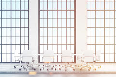 Loft conference room with white furniture, toned Royalty Free Stock Photo