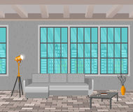 Loft design concept. Living room interior in hipster style with window, sofa, lamps and brick floor. Stock Image