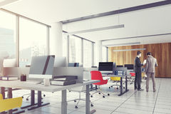 Loft downtown office, colored chairs closeup, men Stock Photography
