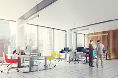 Loft downtown office, colored chairs side, men Stock Images