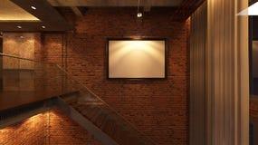 Loft Empty Room, 3d render interior design, mock up illustration Stock Image