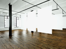Loft expo interior in modern building.Open space studio.Empty white canvas hanging.Wood floor, bricks wall,panoramic Royalty Free Stock Image