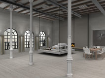 Loft. Fictitious residential loft illustration with moveable living room Stock Photo