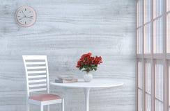 Loft grey-White living room decor with sofa. Grey-White living room decor with pink white chair, wall clock, white wood wall, window,pillow, table, grey white Royalty Free Stock Photos