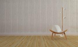 Loft i prosty żywy pokój z krzesłem background-3d i ścianą ponownymi Obrazy Stock
