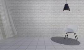Loft i prosty żywy pokój z krzesłem background-3d i ścianą ponownymi Zdjęcia Royalty Free