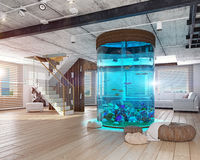 The loft interior with aquarium Royalty Free Stock Photography