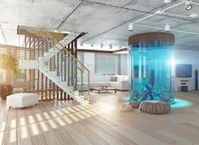 The loft interior with aquarium Royalty Free Stock Image