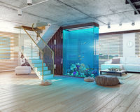 The loft interior with aquarium Stock Photography