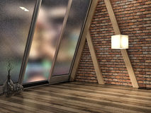 Loft interior and big window. 3d illustration Stock Photography