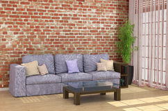 Loft interior with brick wall sofa Stock Photography