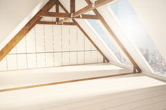 Loft interior with city view sideview Stock Photos