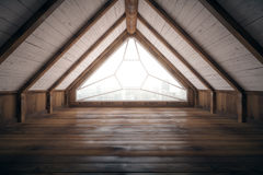 Loft interior design. Creative loft interior design with city view and wooden floor. 3D Rendering Stock Images