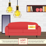 Loft interior design illustration Royalty Free Stock Images