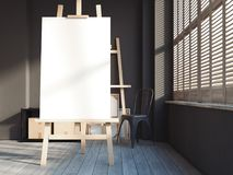 Loft interior with easel. 3d rendering. Loft interior with easel and blank poster. 3d rendering Royalty Free Stock Photography
