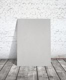 Gray poster. Loft interior with gray poster Royalty Free Stock Photography