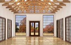 Loft interior Great Hall with mirror, Stock Photo