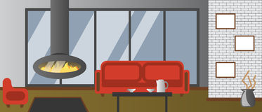 Loft interior of living room Royalty Free Stock Images