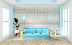 Loft interior mock up with sofa and decoration and white brick wall on wooden floor .3D rendering. Mock up Loft interior mock up with sofa and decoration and stock illustration
