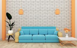Loft interior mock up with sofa and decoration and white brick wall on wooden floor .3D rendering. Mock up Loft interior mock up with sofa and decoration and vector illustration