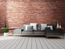 Mock up Loft interior mock up with sofa and decoration on white floor wooden.3D rendering. Loft interior mock up with sofa and decoration on white floor wooden royalty free illustration
