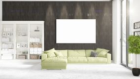 Loft interior with panoramic view, green plush divan, empty frame  Royalty Free Stock Photography