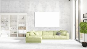 Loft interior with panoramic view, green plush divan, empty frame  Royalty Free Stock Image