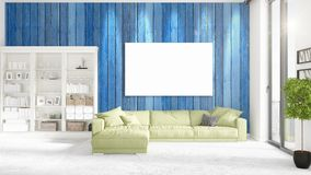 Loft interior with panoramic view, green plush divan, empty frame   Royalty Free Stock Images