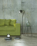 Loft interior room with lamp and yellow sofa, 3D Royalty Free Stock Photo