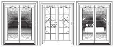 Loft Interior View Through The Terrace Door Royalty Free Stock Photo