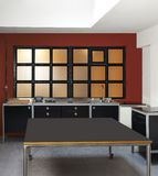 Loft kitchen and windows Royalty Free Stock Photography