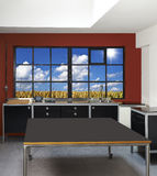 Loft kitchen and windows Royalty Free Stock Images
