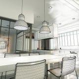 Loft kitchen wireframe Stock Photo