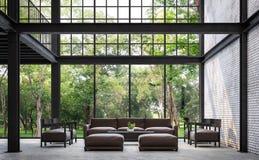 Loft la sala de estar del estilo con imagen de la representación de la opinión 3d de la naturaleza ilustración del vector