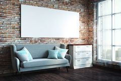 Loft living room with billboard. Loft brick living room interior with empty billboard, daylight, city view and furniture. Side view. Mock up, 3D Rendering royalty free stock image