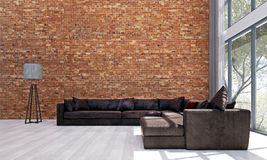 The loft living room interior design and brick wall pattern background. The living room interior design concept and brick  pattern wall background Royalty Free Stock Photos
