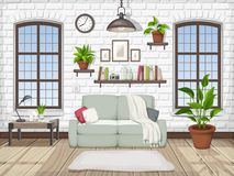 Loft living room interior. Vector illustration. Stock Photo