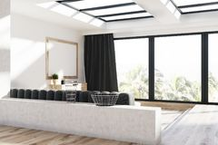Gray curtains living room, sofa and poster. Loft living room interior with a wooden floor, a gray sofa and a large poster hanging above a chest of drawers. Side Royalty Free Stock Photo